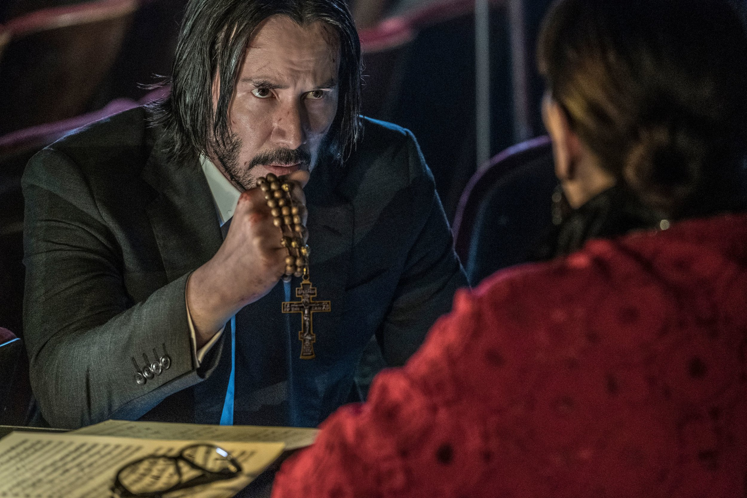Keanu Reeves & Anjelica Huston in  John Wick: Chapter 3 - Parabellum,  courtesy of Lionsgate