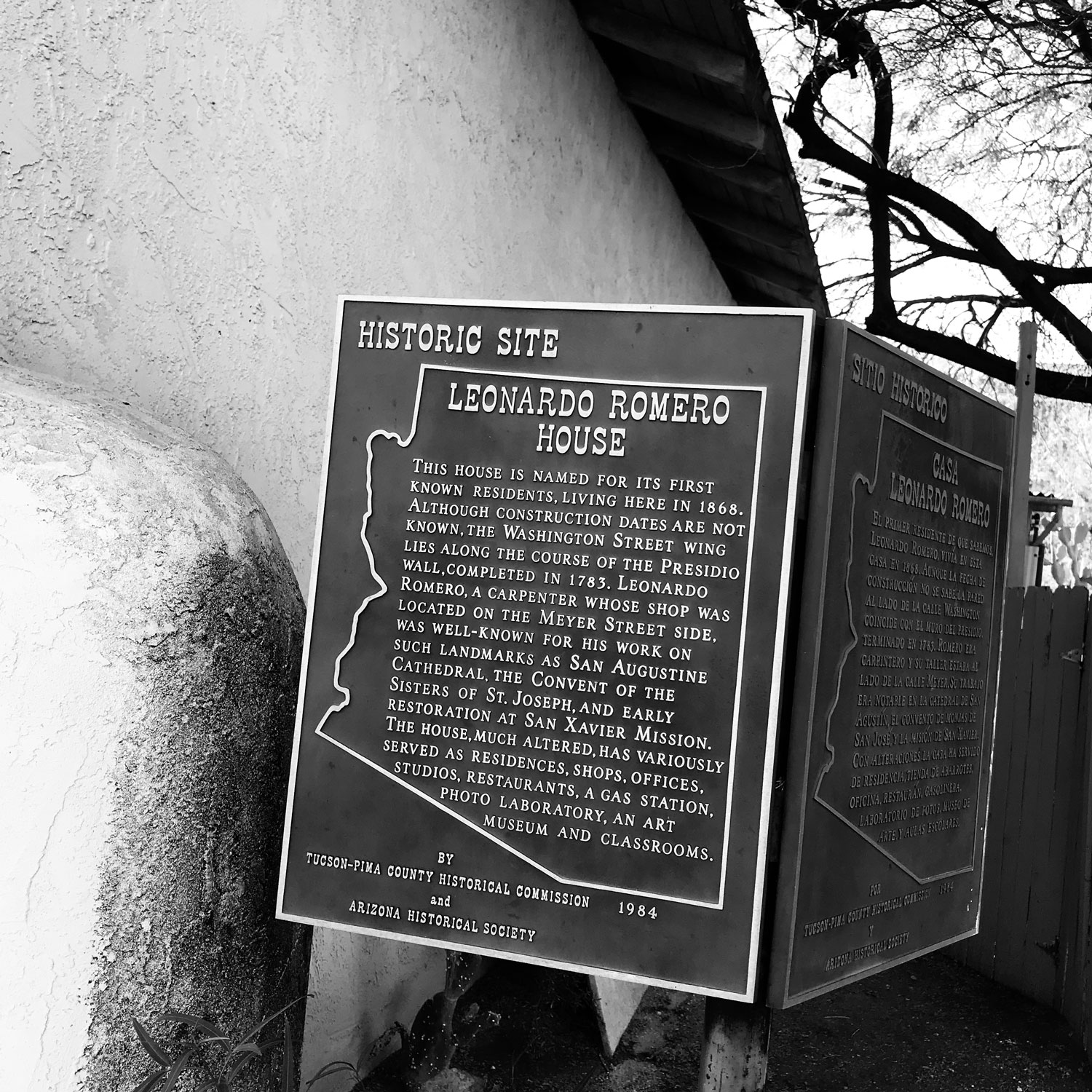 Historical sign about the Romero's House