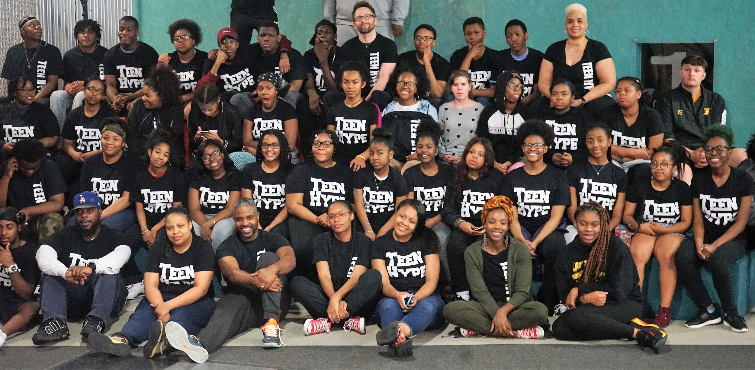Group shot of 30 PEs in Teen HYPE shirts.jpg