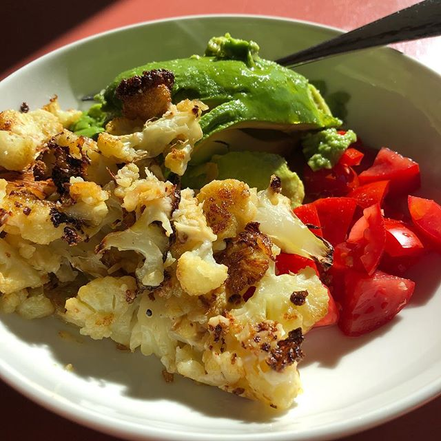 Roasted it 425 for 20-30 minutes? I always forget to check time. I just get it when I remember it. Flip it around with a tool. Then put shredded Parmesan cheese on top for another five.  Sooo good. #isaidtool #sogood #iheartcauliflower #mylunch oh.....and throw some salt on there too!