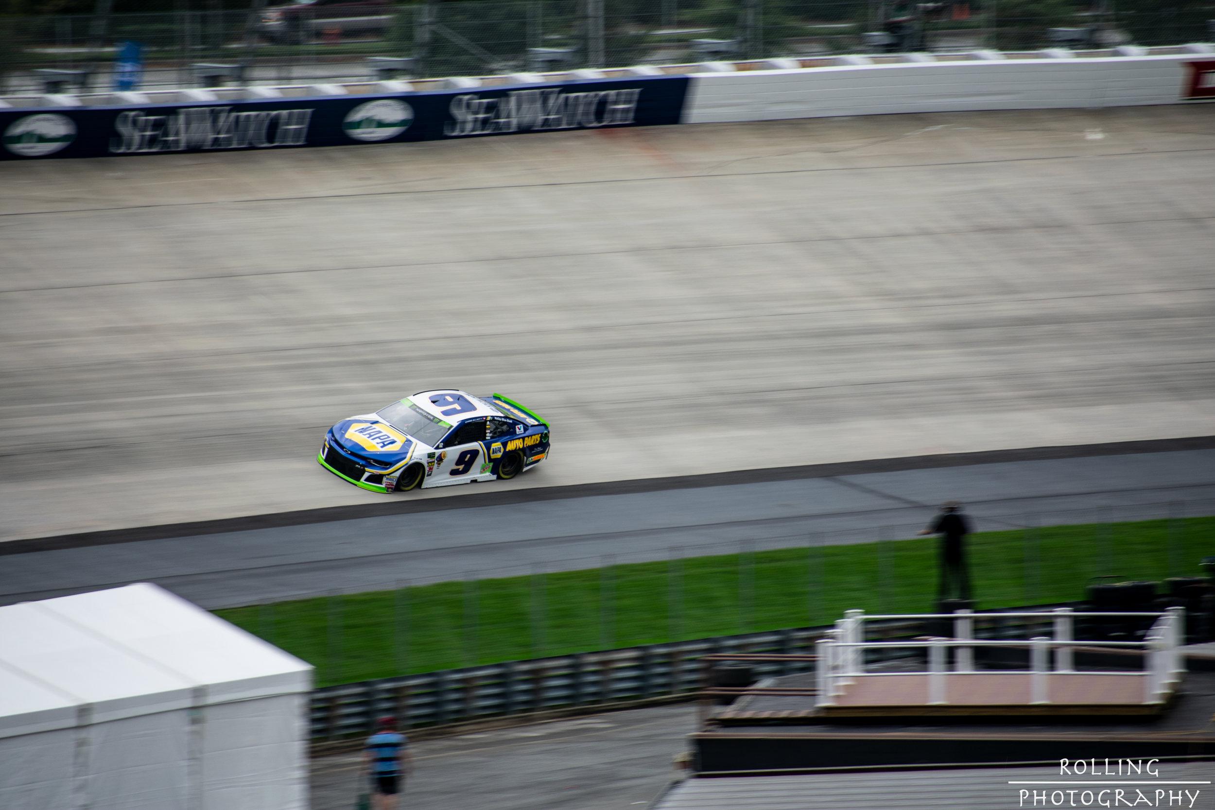 #9 Chase Elliot (Race Winner)flying through Dover 3 on Saturday ISO 100, 70-300mm lens (300mm), f / 6.3 Shutter Speed 1/160