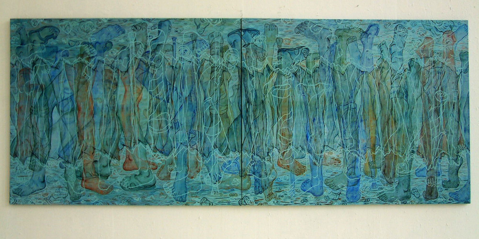 Tvanginnvandring Oil on Canvas W340xH120cm,202.jpg
