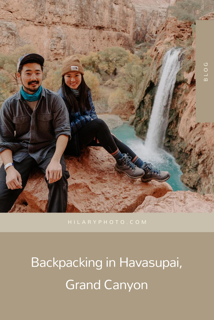 Backpacking in Havasupai, Grand Canyon by Hilary Kao Photo. Including hiking photos, couples session inspiration, nature photography and outdoor photography inspiration. Book your Los Angeles wedding and browse the blog for more inspiration #photography #weddingplanning #weddingtips #weddingphotography #LosAngelesphotographer