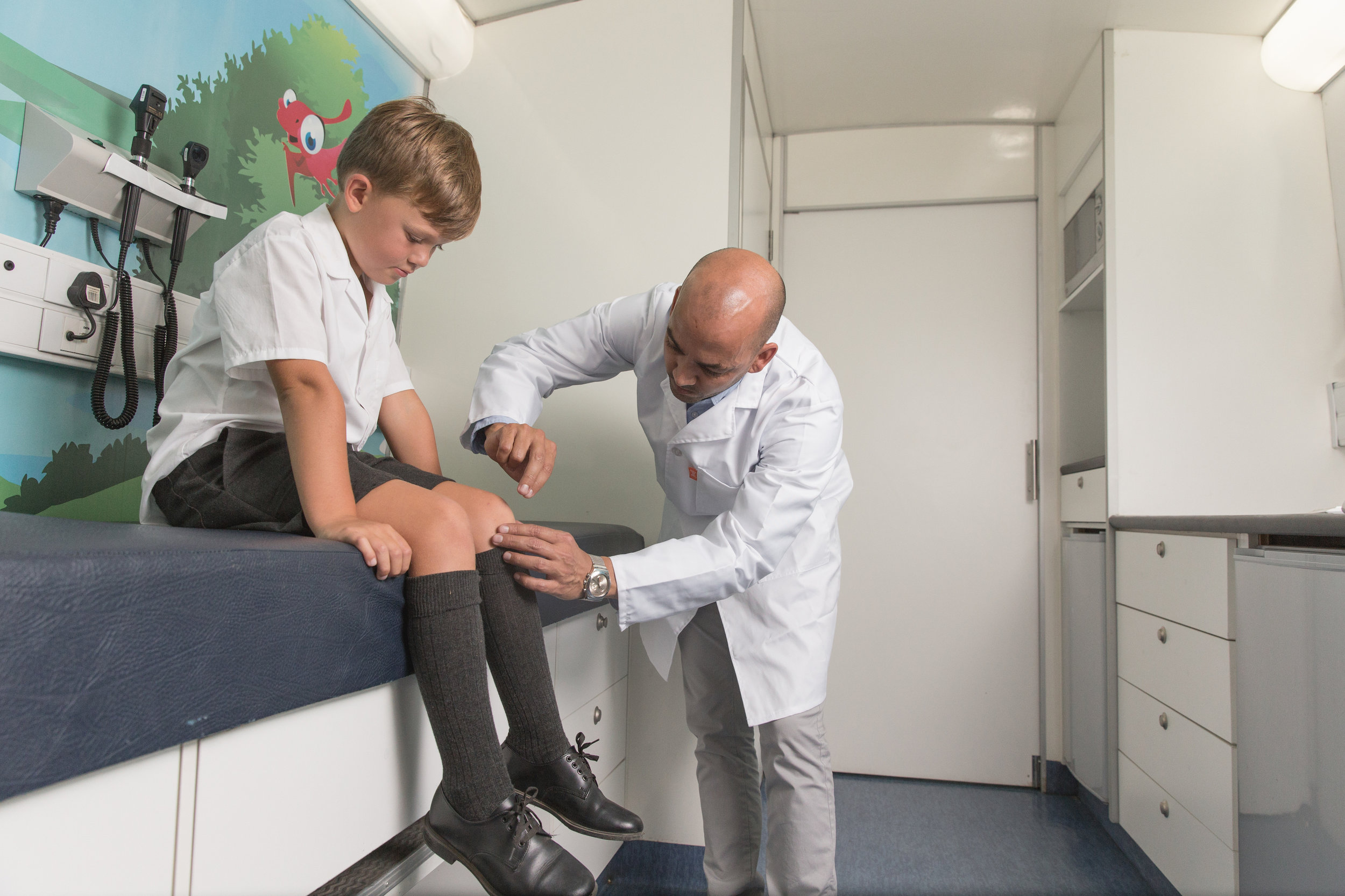 Primary Health Care section - Qualified nurse conducts a thorough examination and administers basic treatments.