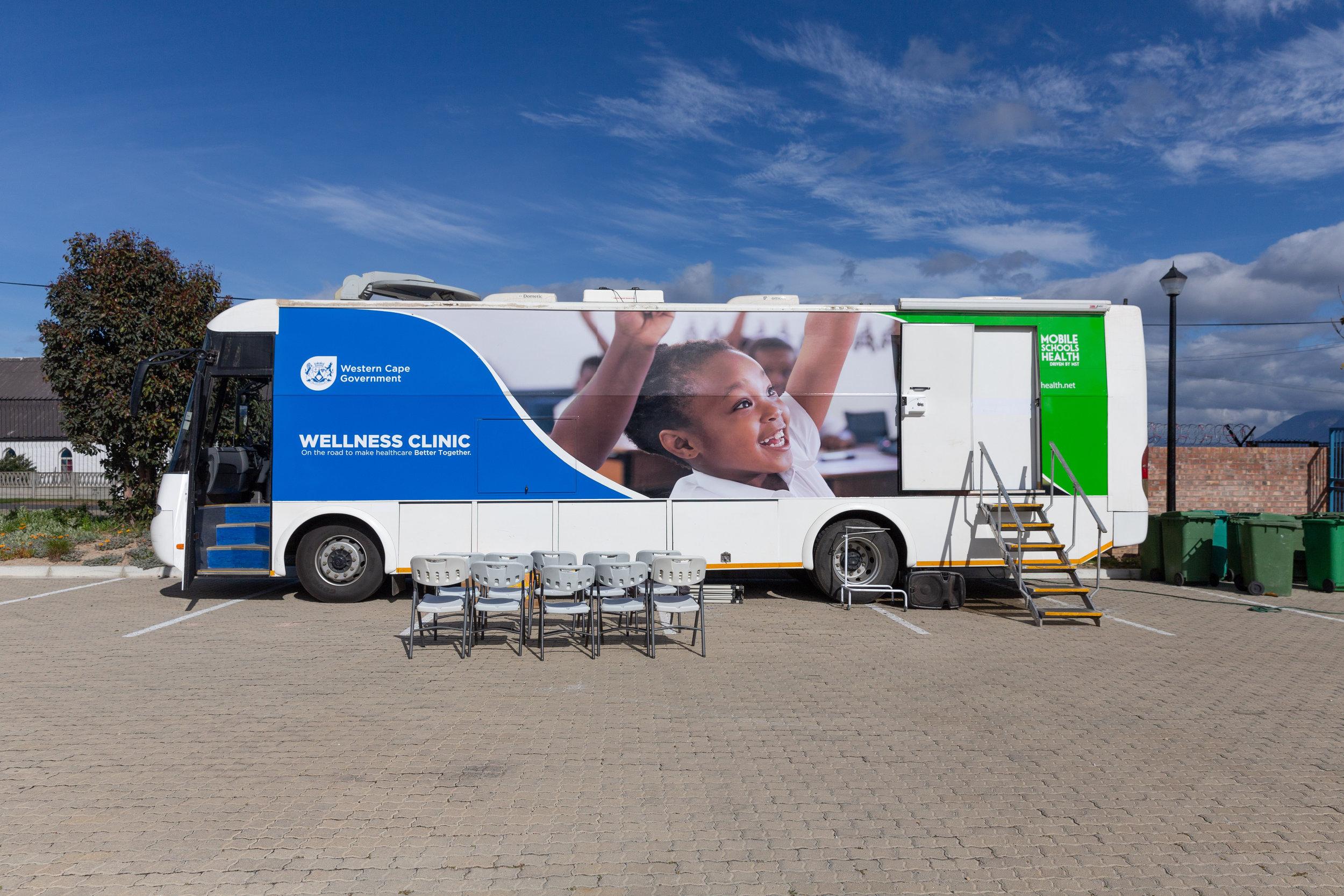 A Mobile Schools Health vehicle setup.