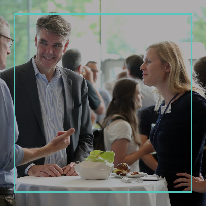 Our CEO Saskia Bruysten networking with Joachim Drees (CEO of MAN Truck & Bus) during the MAN Impact Accelerator Closing Ceremony in Munich.