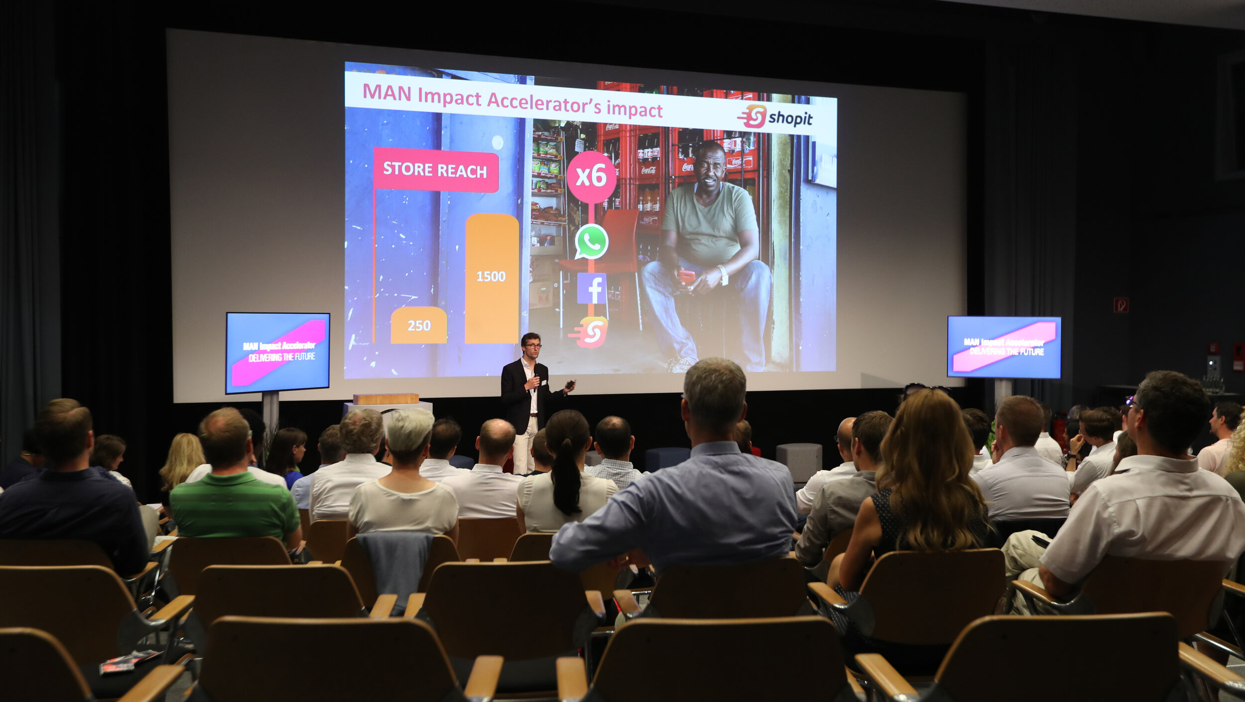 Impact numbers of Shopit (Last mile for BOP) impressing a crowd of +200 attendees including social business enthusiasts, MAN employees, investors, journalists, press…