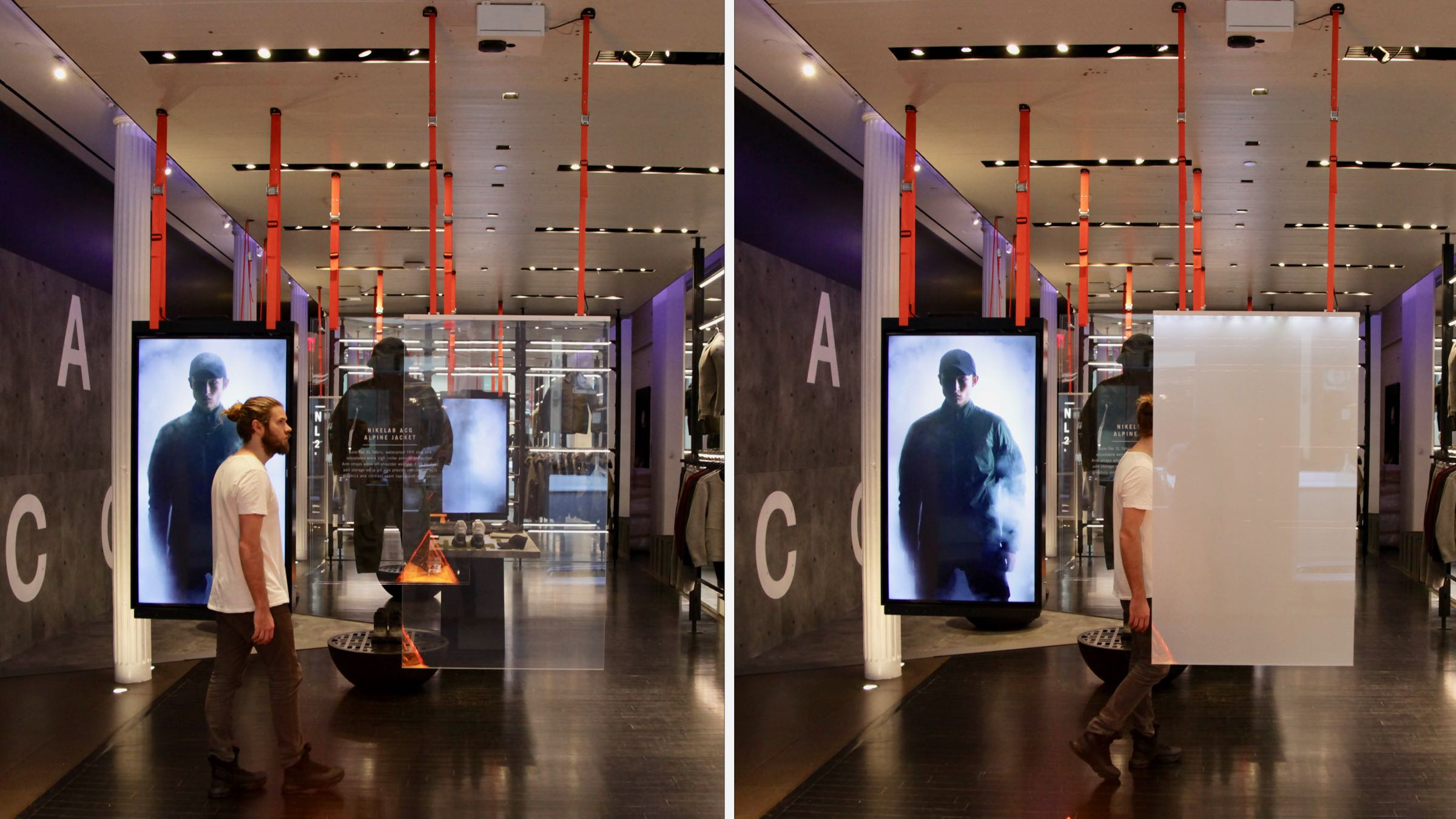 NIKE All Condition Gear Representations of extreme weather conditions in the New York NikeLab store by creating the effect of fog using smart glass. - Client: NIKERead more —>