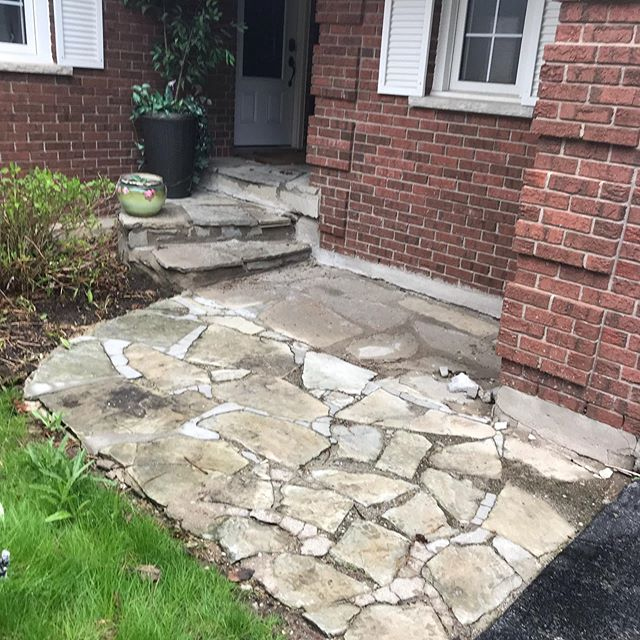 Swipe to see this walkway transformation with some white dolomite stone and techo blu 60 slate in shale grey #hardscaping #hardscape #hardscapes #hardscapedesign #hardscapebrotherhood #outdoorliving #frontentrance #home #cambridge #cambridgeontario #outdoorlivingspace #techobloc #patiodesign #blu60 #landscaper #landscaping #landscapingideas #landscapecontractor #landscapeconstruction #pavers #kitchenerontario #landscapinglife