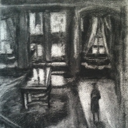 Charcoal+drawing+of+interior+foyer%2C+Lisa+Steffens%2C+Black+Mountain%2C+NC