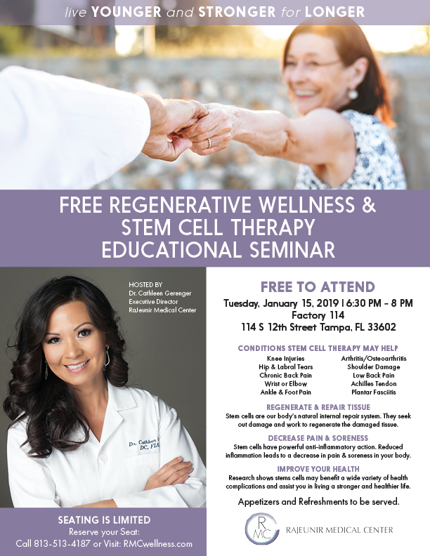 Free event - Regenerative Wellness & Stem Cell Therapy SeminarJanuary 15, 2018 | 6:30 PM - 8 PM