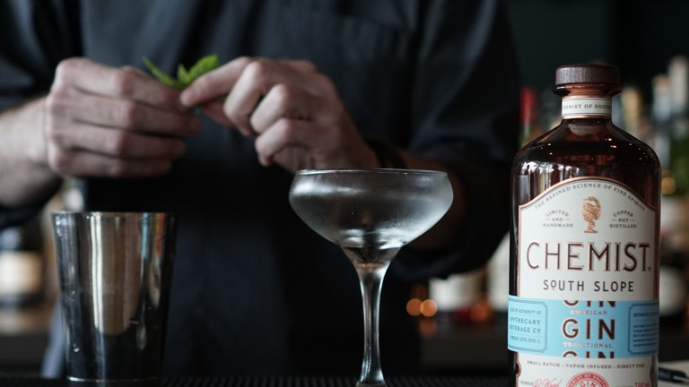 Gin takes the stage at The Chemist, a suave new tasting room from Apothecary Beverage Company | © The Chemist