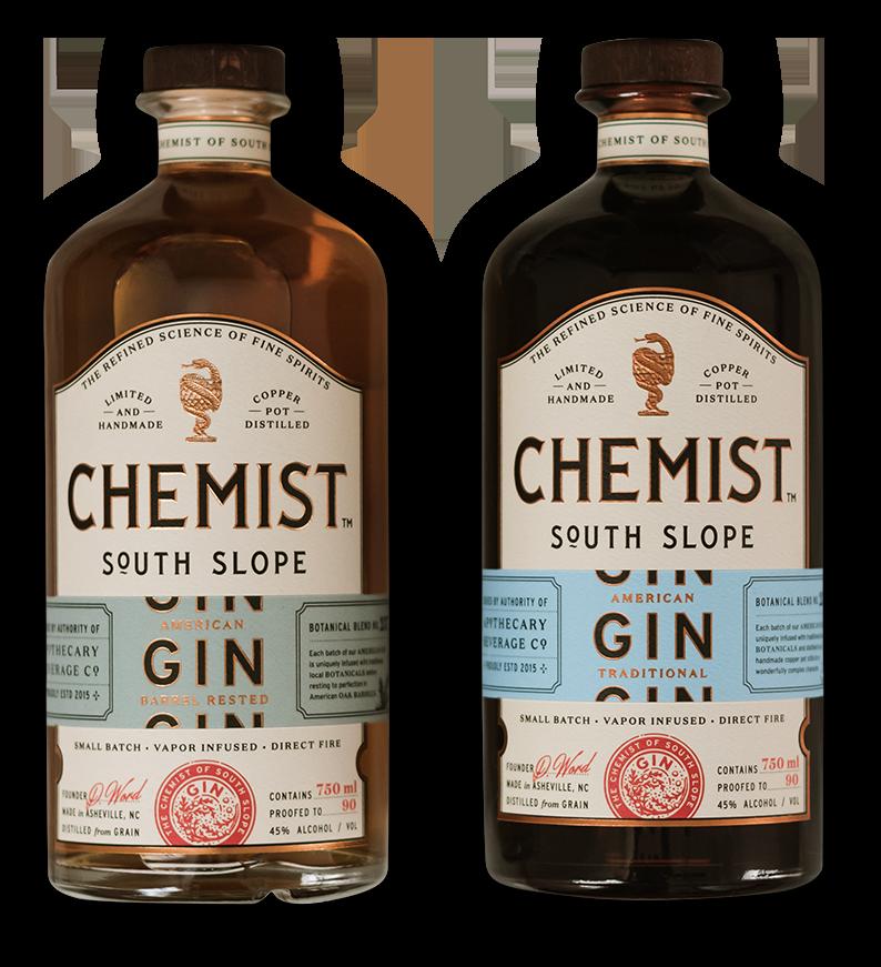 Two bottles of Chemist Gin