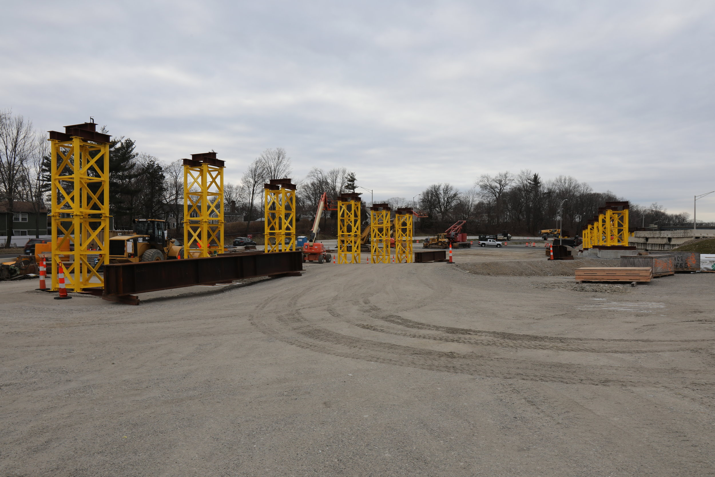 Temporary support system of Span 2 effectively ready for the placement of girder steel.  Taken on 1/12/19 by Pete Venoutsos
