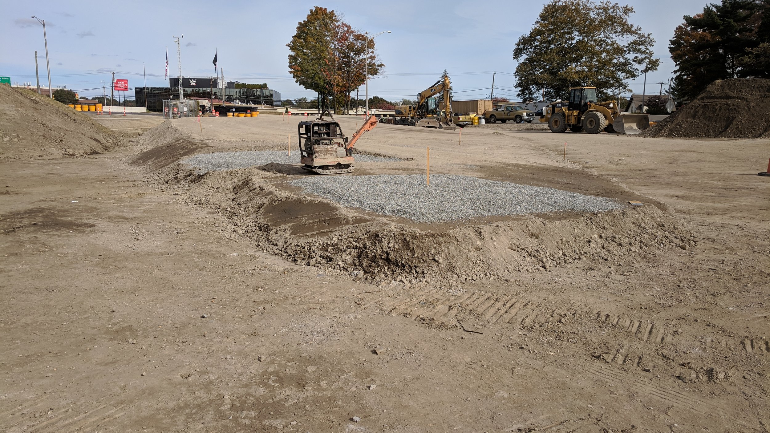 Infield area being prepared for the assembly of the temporary support system for Span 1.  Taken on 10/26/2018 by Jonathan Wu