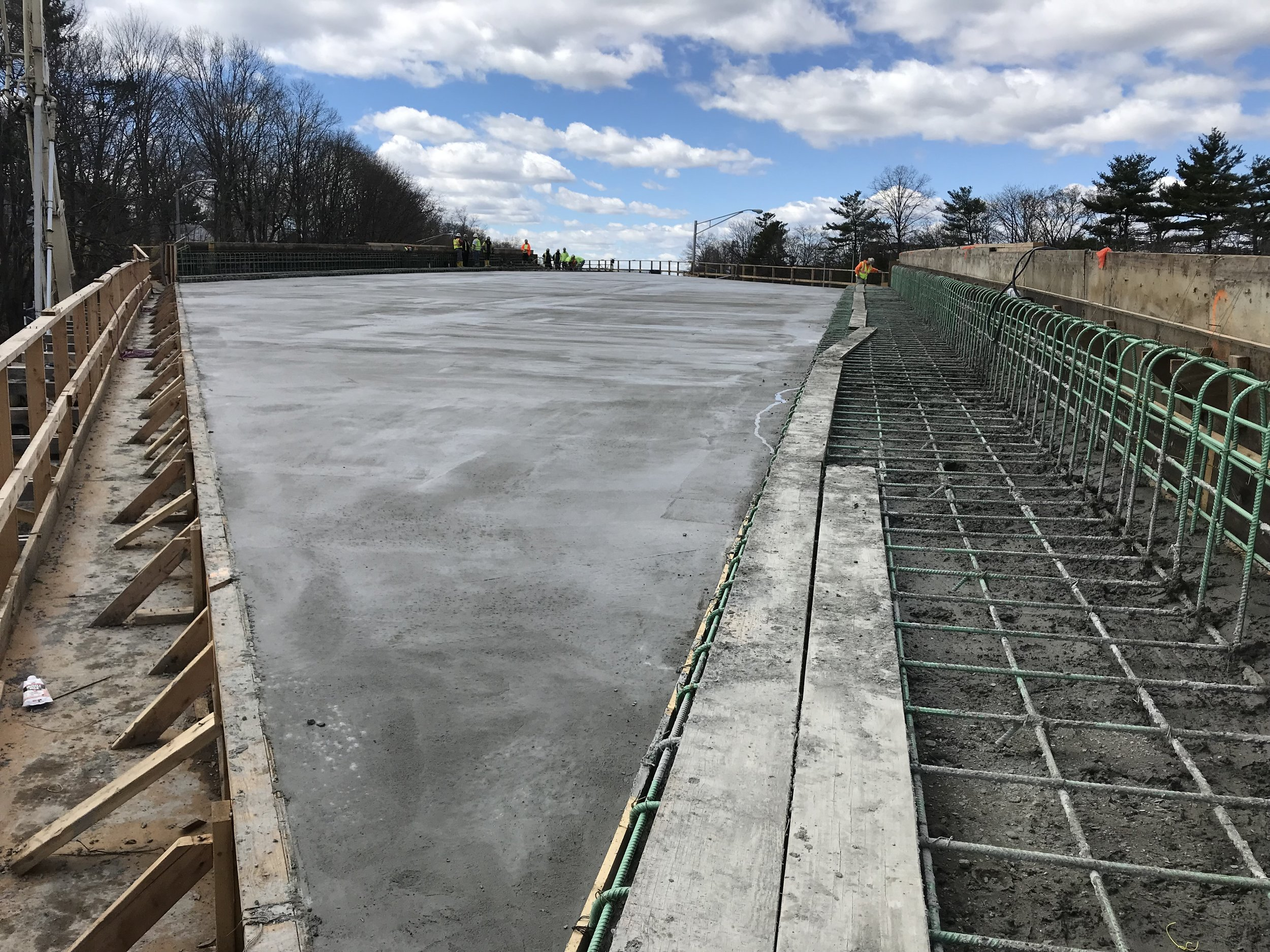 The sidewalk and parapet (green rebar on right) on Span 2 will be poured after the bridge is in place.  Taken on 4/10/19 by Yousif Abdulla