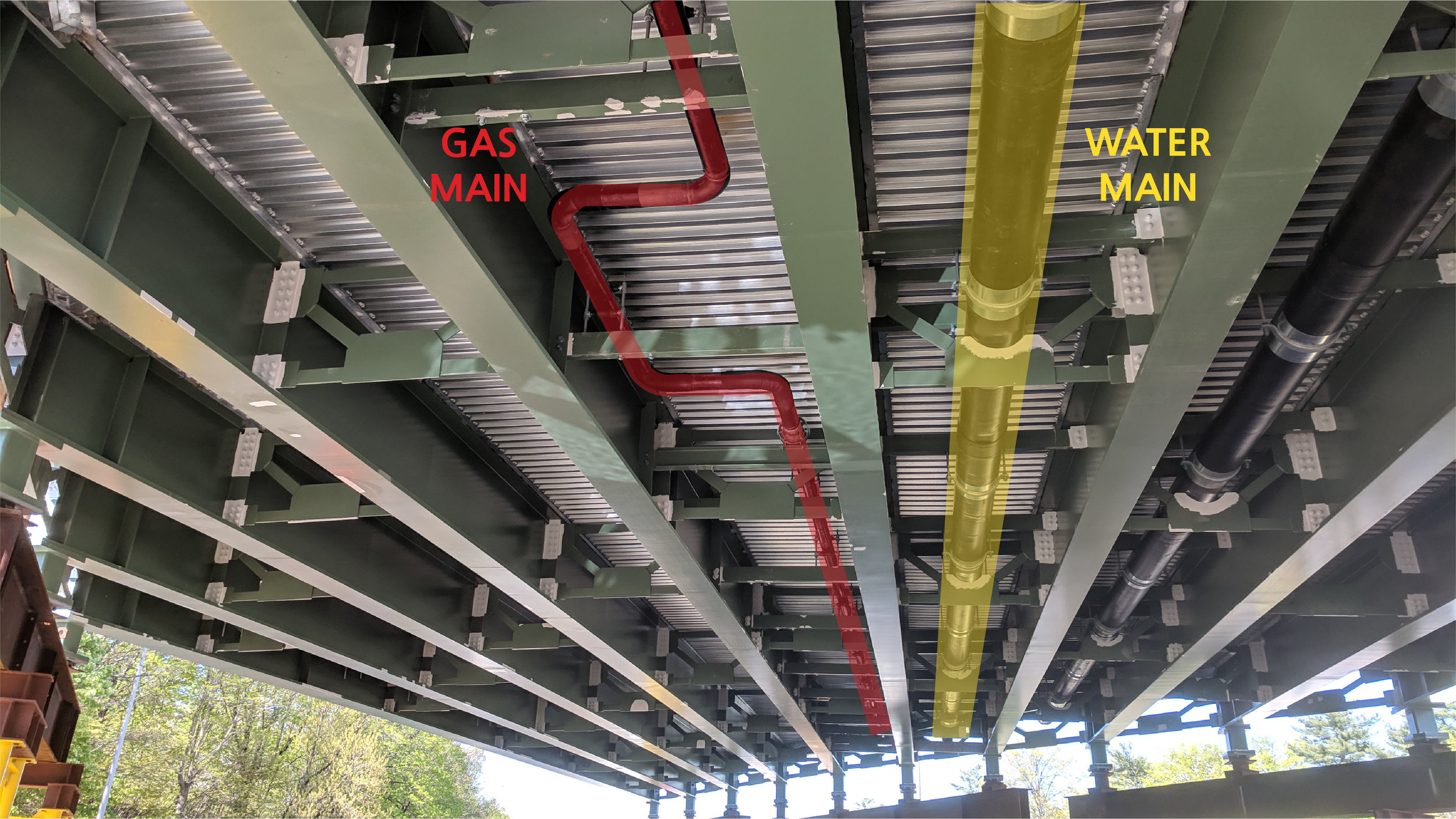 Gas main and Water main pipes completed under Span 2.  Taken on 5/7/19 by Jonathan Wu