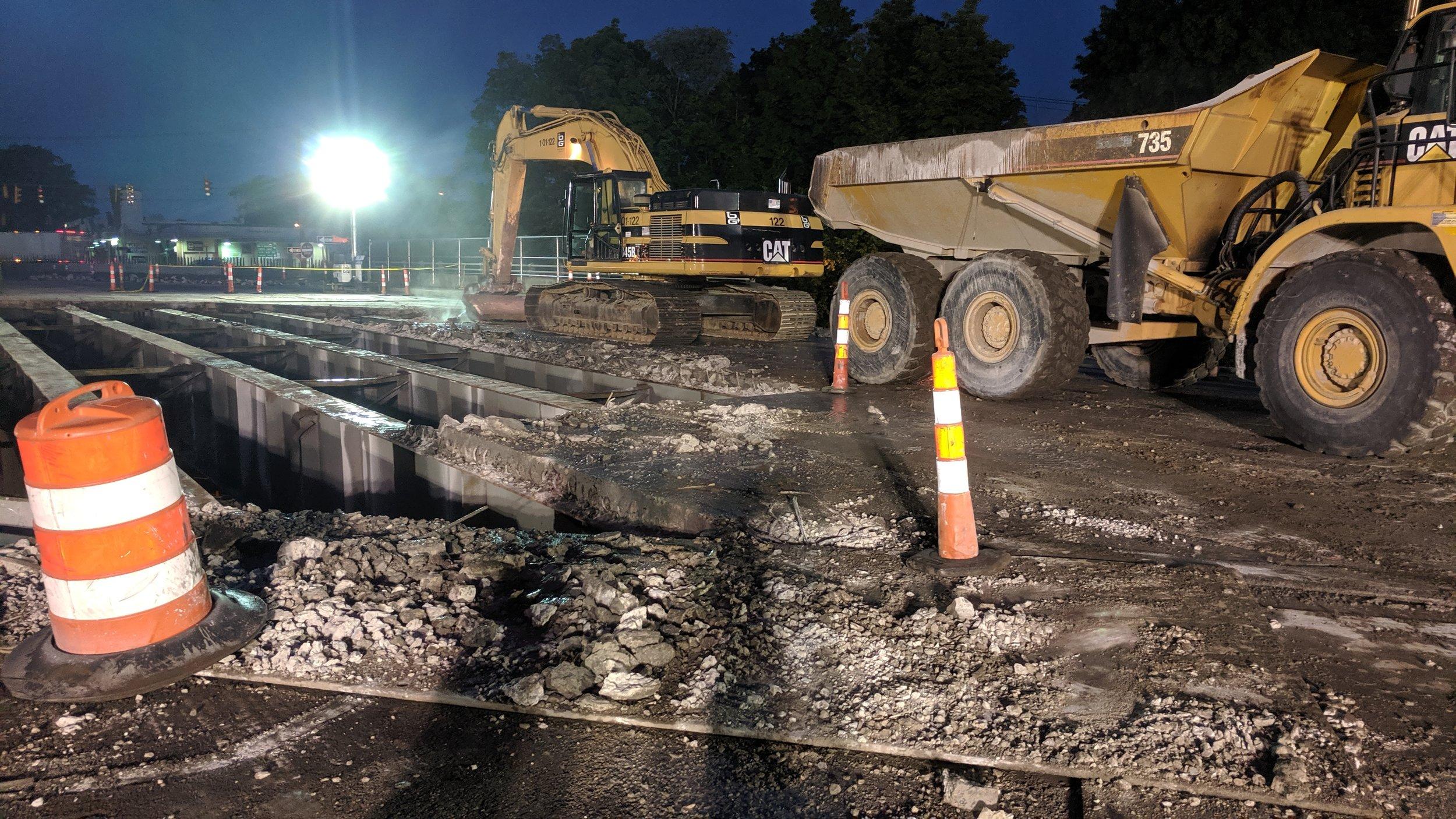 Bridge deck demolition over Northbound I-95.  Taken on night of 5/31/19 by Jonathan Wu