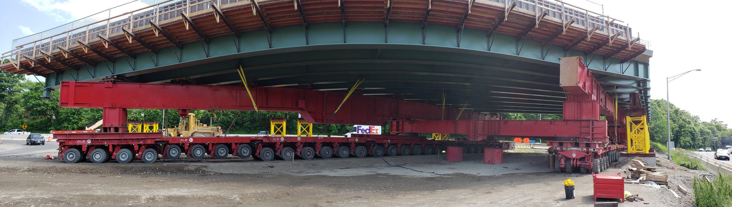 SPMT machine supporting bridge Span 2.  Taken by John Deliberto on 5/31/19