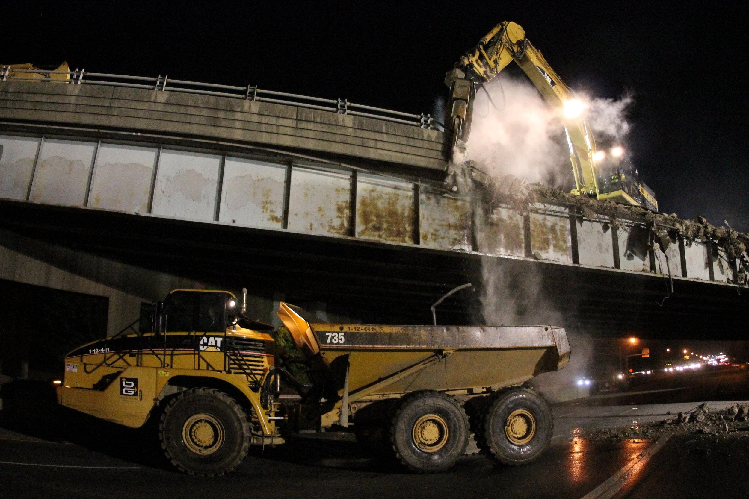 Parapet removal from bridge sidewalk.  Taken on night of 5/31/19 by Pete Venoutsos