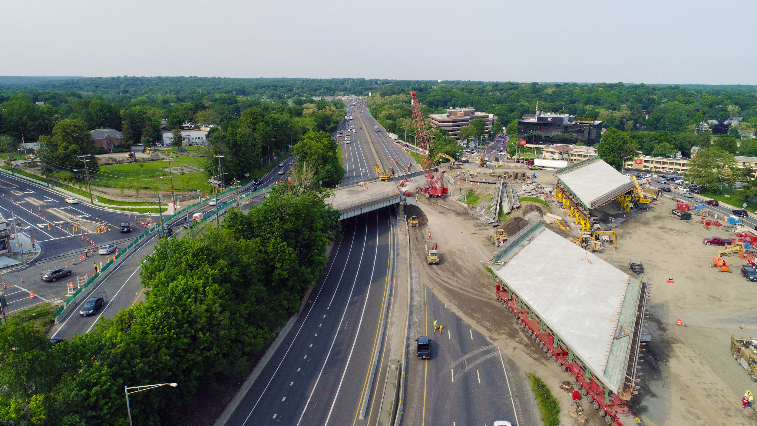 Aerial view of Span 2 in preparation for final movement.  Taken on afternoon of 6/1/19 by Eric Tallarita