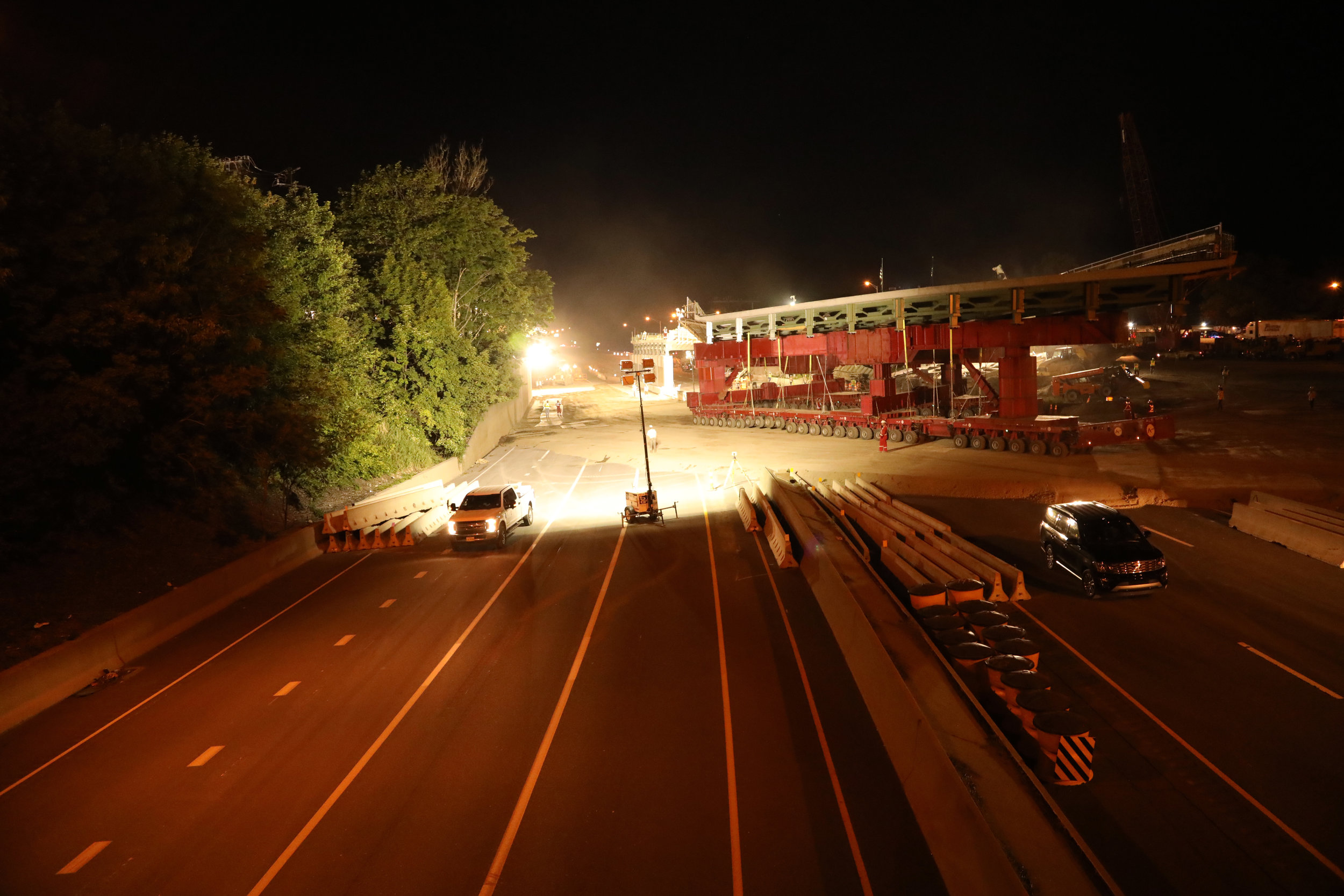 Span 1 being moved into place.  Taken the night of 6/8/19 by Pete Venoutsos