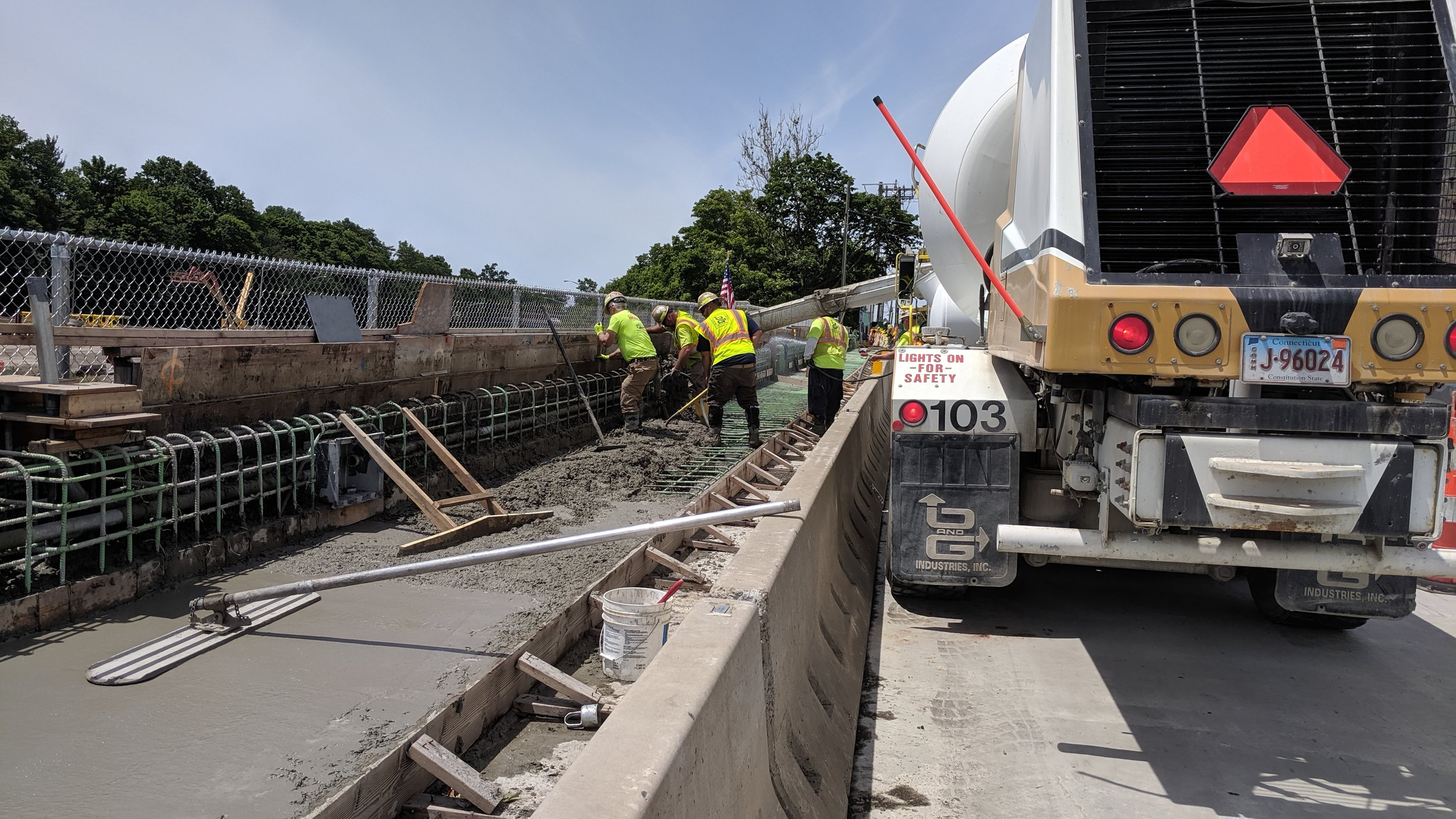 The south sidewalk of Span 2 being poured.  Taken on 6/12/19 by Jonathan Wu