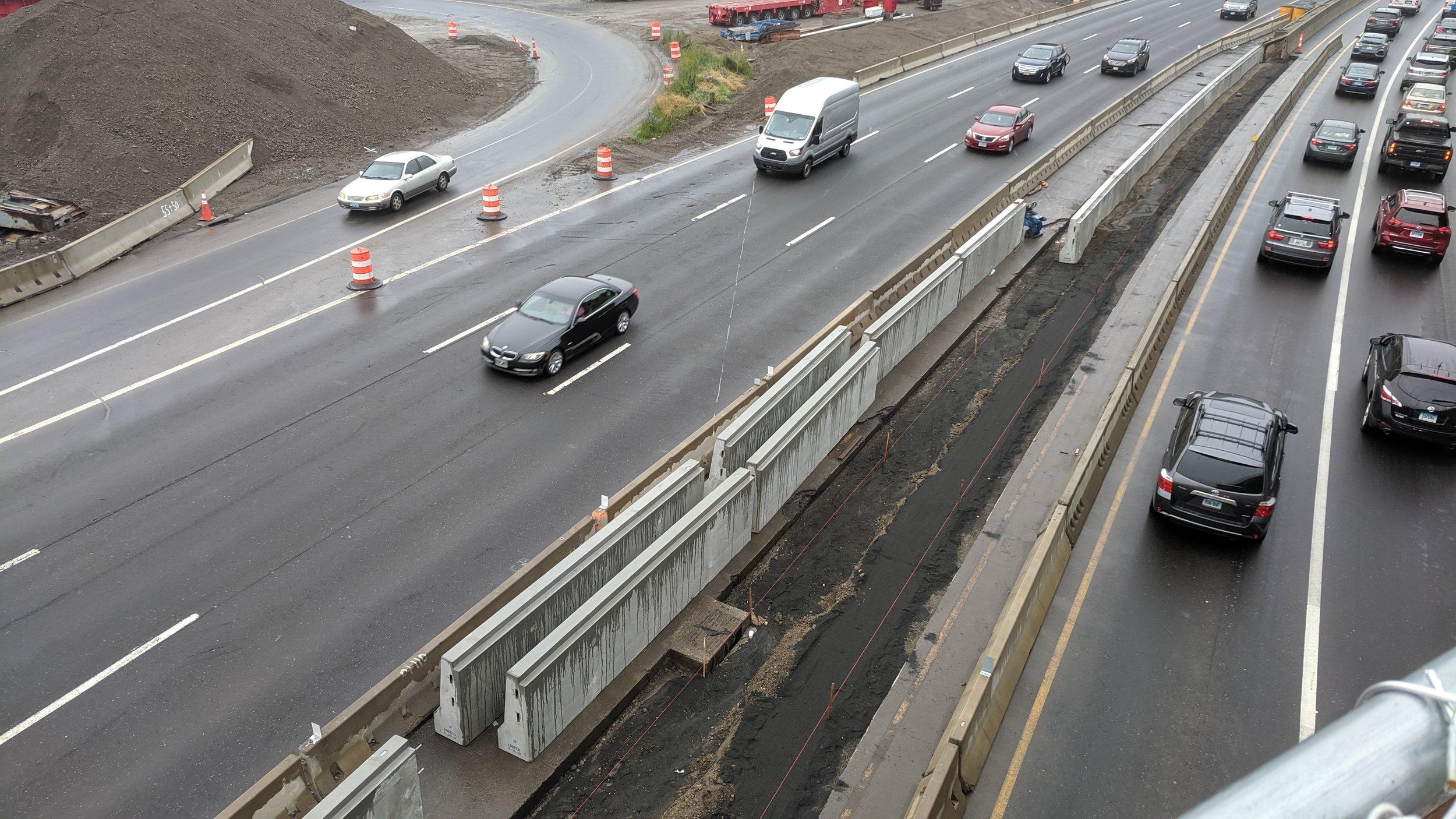The replacement of median barrier in progress.  Taken on 6/20/19 by Jonathan Wu