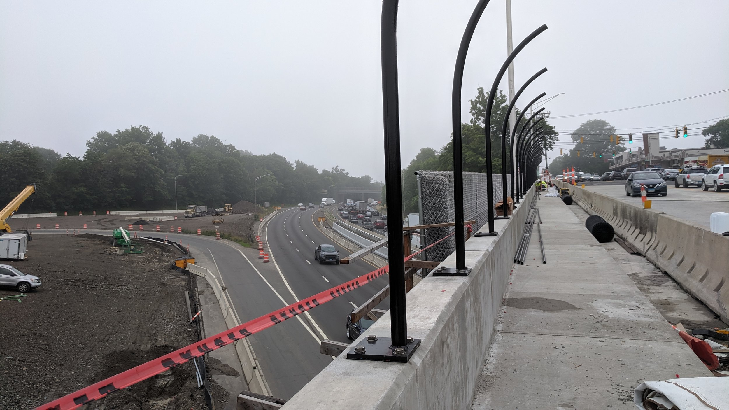 Installation of new bridge sidewalk fencing.  Taken of 7/18/19 by Jonathan Wu