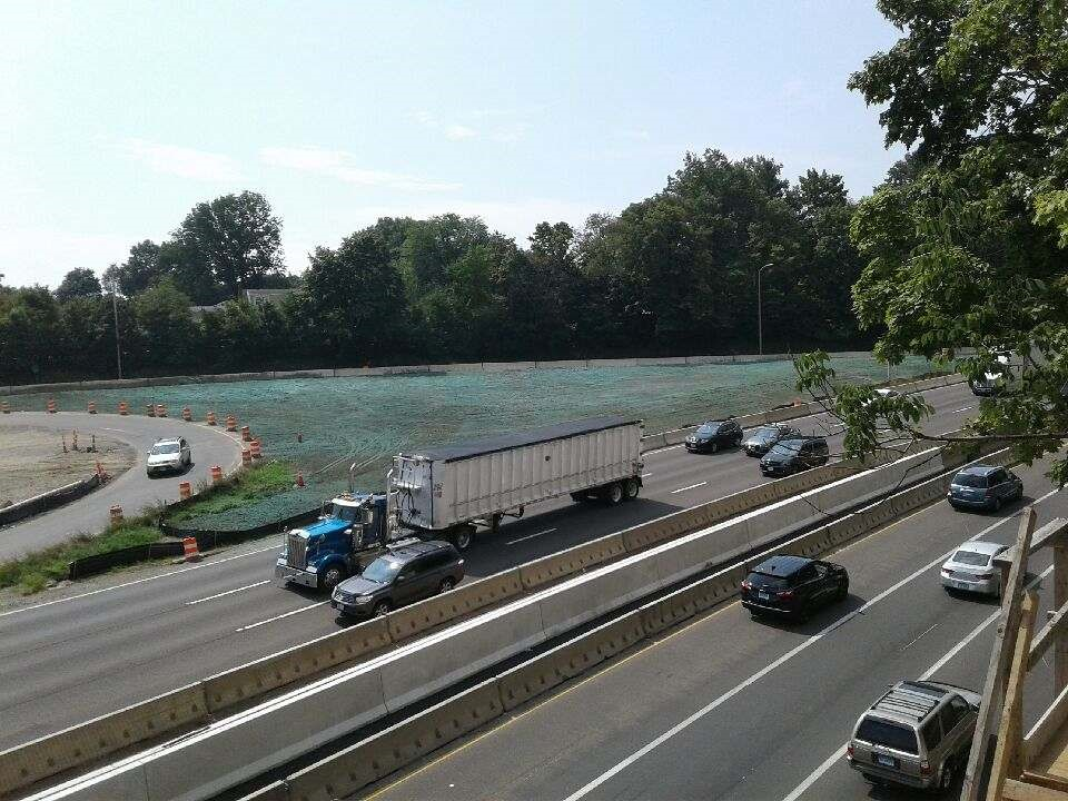 The contractor hydroseeded the area where Span 2 was constructed along the side of I-95  Taken 8/16/19