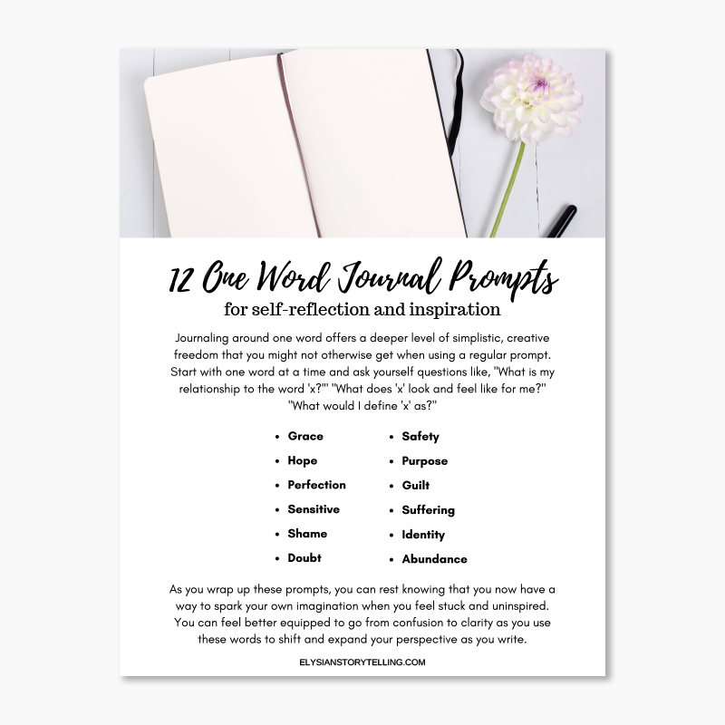 12 One Word Journal Prompts -