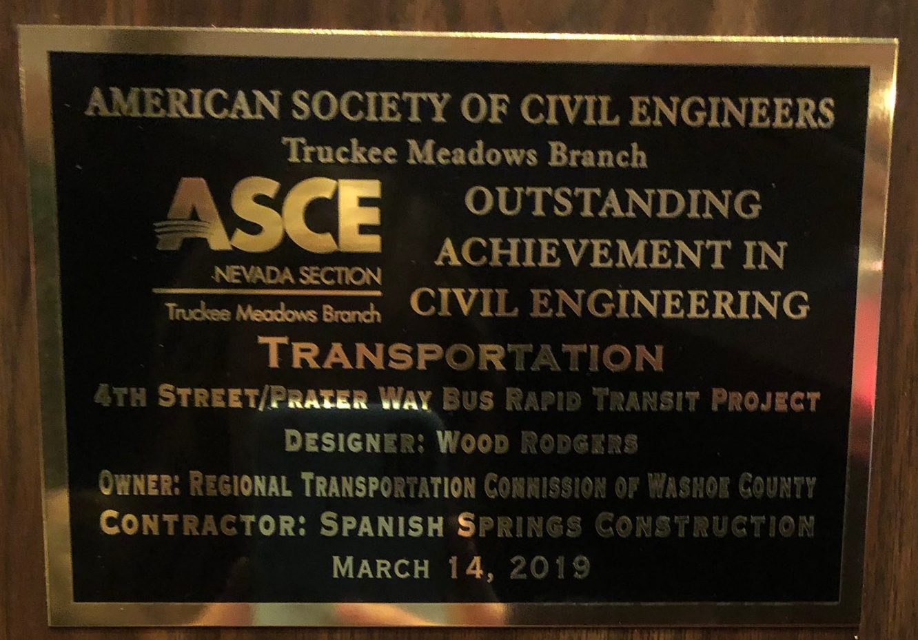 Awarded   2018 Transportation Project of the Year   by Truckee Meadows Branch of American Society of Civil Engineers (ASCE)