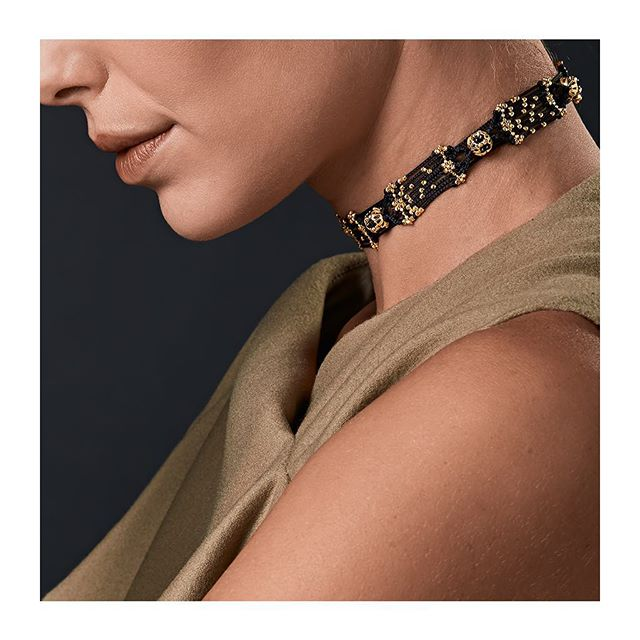 Black silk yarn and gold drops create a timeless weave. Our passion for exclusive creations is revealed by this elegant choker's details. Fall in love with our Italian excellence on www.treesure.com  #Treesure #Treesurejewels #ItalianSilk #ItalianExcellence #ManufattoCulturale #craftsmanship #artefact #madeinitaly