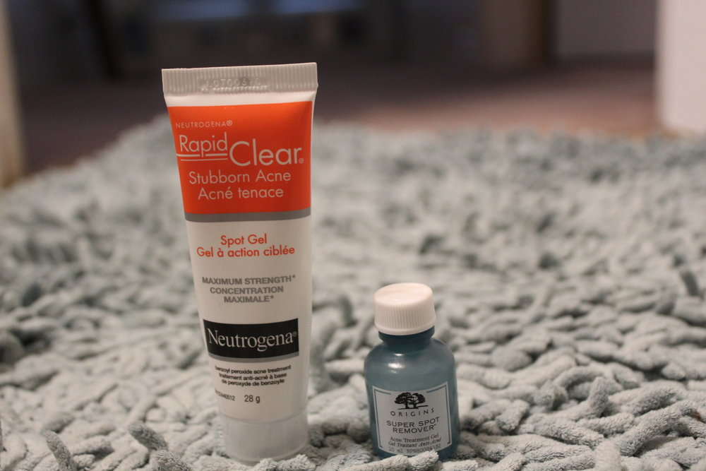 Spot Treatments (left to right) Neutrogena Rapid Clear Stubborn Acne Spot Gel and Origins Super Spot Remover.