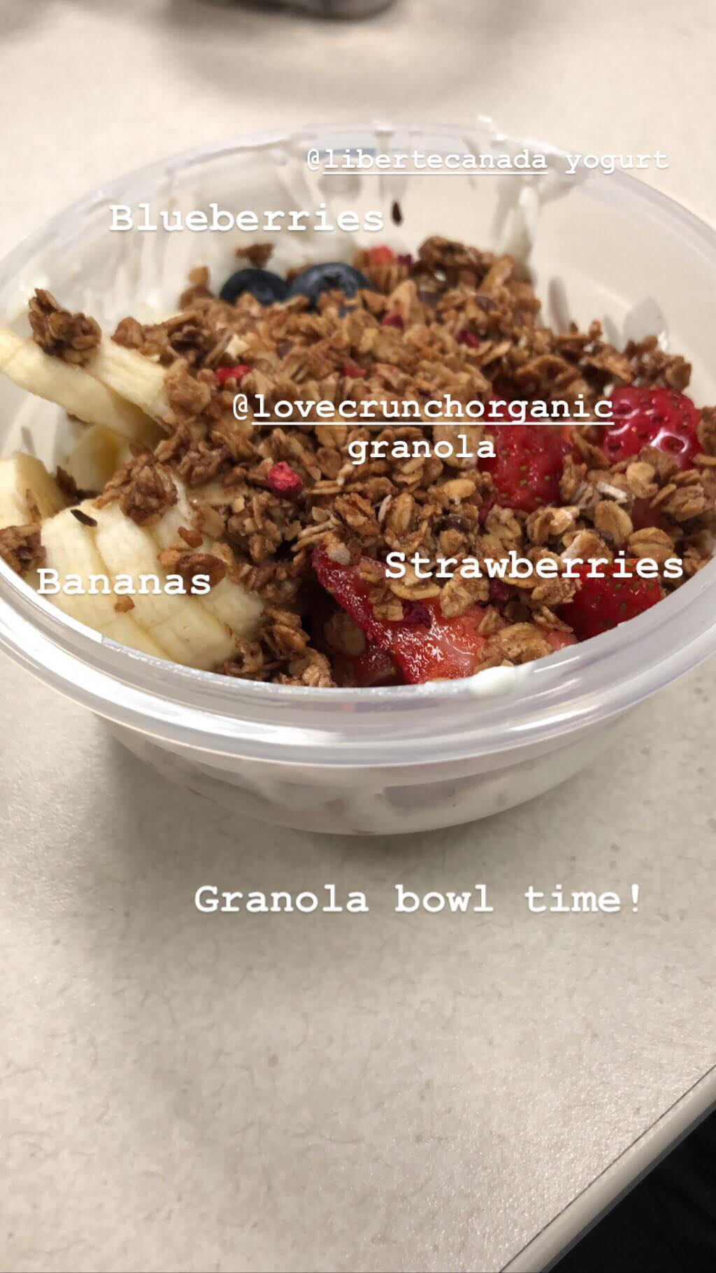 Yummy granola bowl made right at my desk!