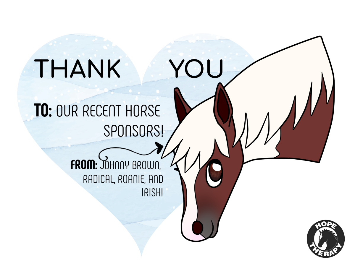 May 30, 2019 -  We just want to give a special thank you to the individuals who have decided to sponsor some of our horses during this month! We decided a fun way to show our appreciation would be through our newest cartoon ponies drawing of Johnny Brown. Weekly cartoon ponies is back, starting now! Who do you think we should have drawn next week?