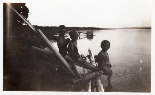 Me with my sisters Sally and Carolyn at a Michigan lake, around 1937-38.