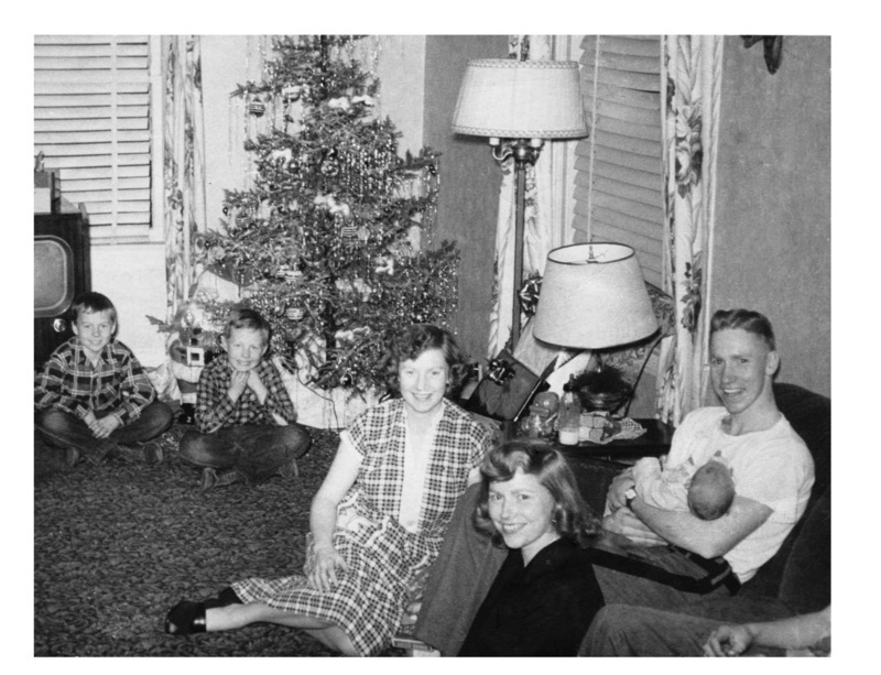 With my sisters Sally and Carolyn and my brothers Jerry and Pete, home for Christmas from West Point in 1952.