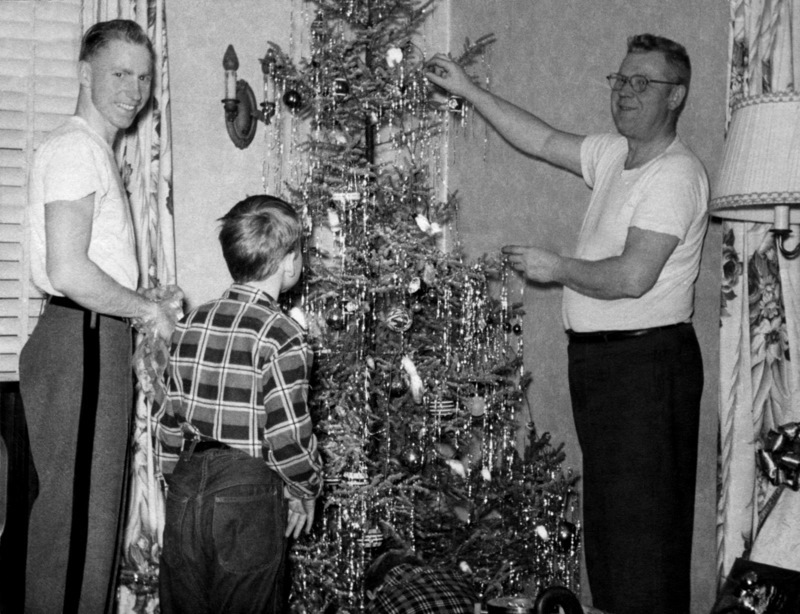 With my father and my brothers Jerry and Pete, home for Christmas from West Point in 1952