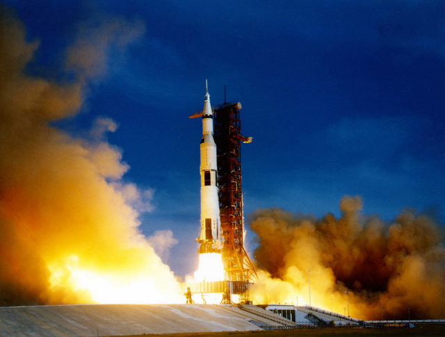 The launch of our immense Saturn V rocket.