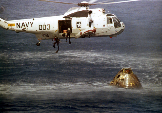 Recovery crews rendezvous with our floating spacecraft.