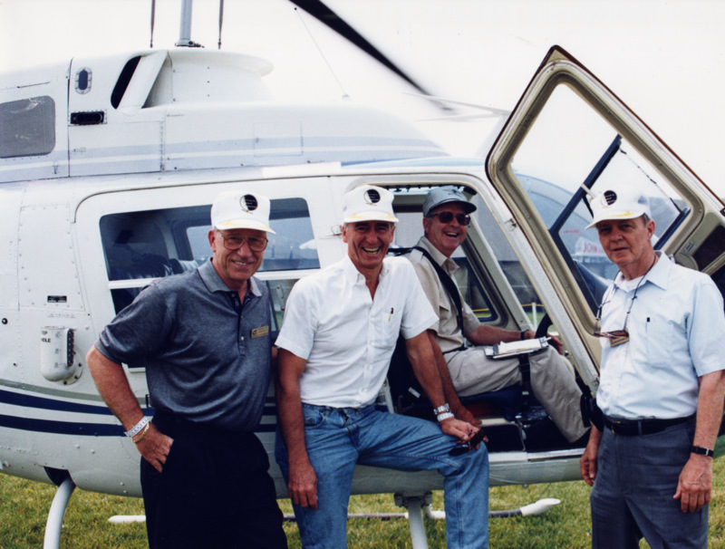 With fellow Apollo astronaut Walt Cunningham at an Experimental Aircraft Association event in Oshkosh in 1994.