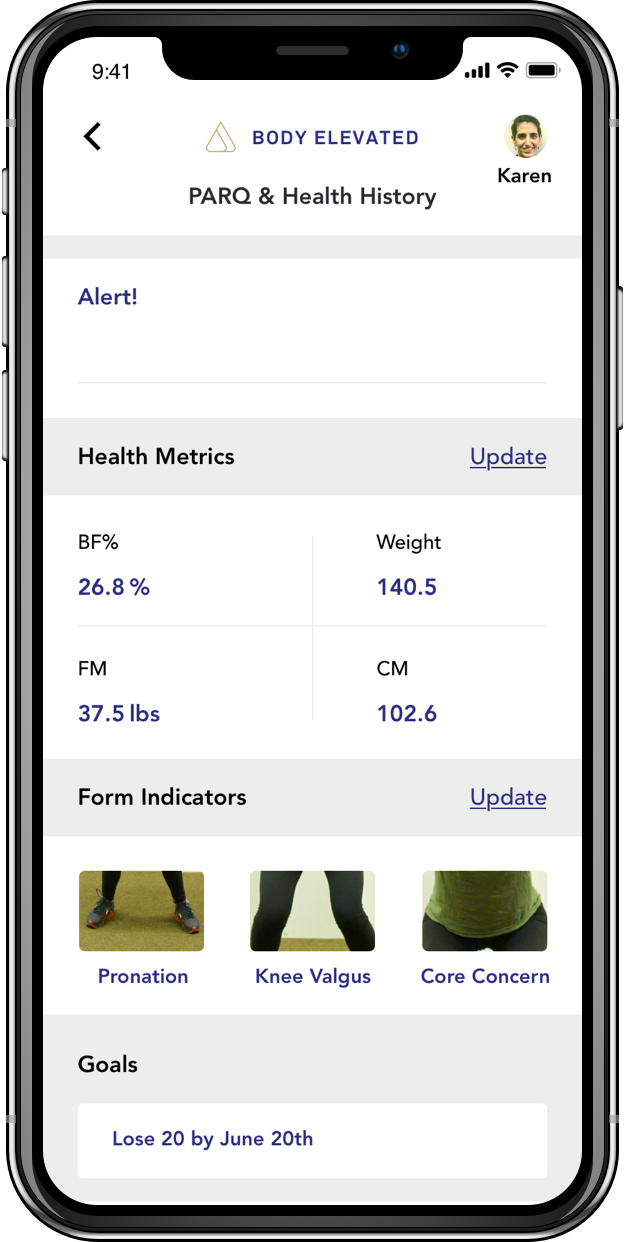 Develop Your Fitness Profile - BodyElevated's app utilizes machine learning to align your profile information to give you a hyper-personalized exercise program.