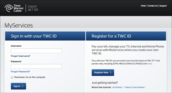 - 1. Time Warner Cable sign-in page