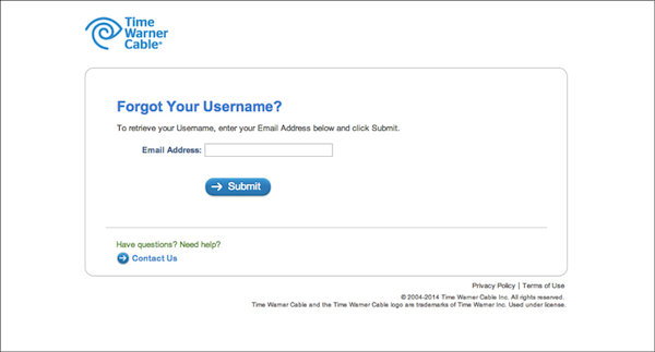- 2. Time Warner Cable forgot username page