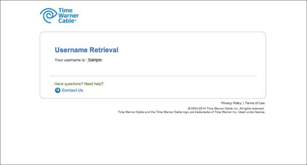 - 3. Username retrieval page (dead-end screen)
