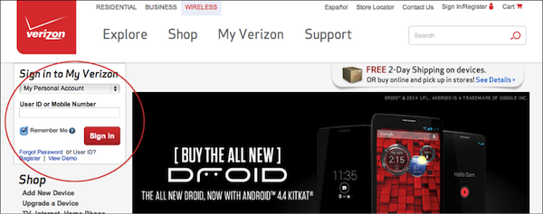 - 1. Verizon.com homepage with sign-in area