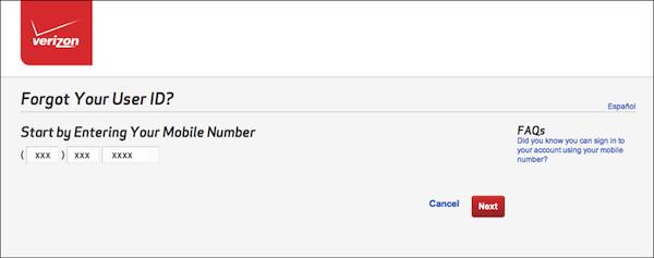 - 2. Step 1 of User ID retrieval process