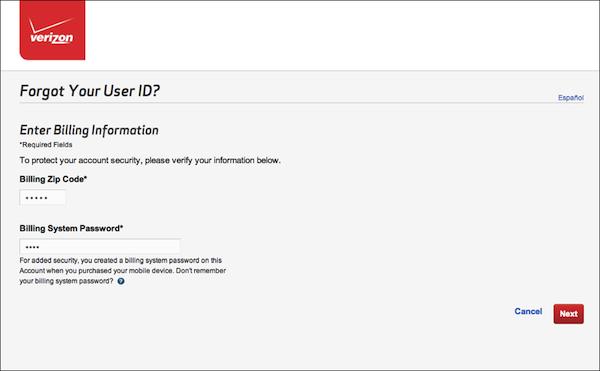 - 3. Step 2 of User ID retrieval process