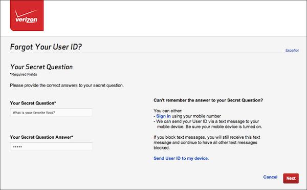- 4. Step 3 of User ID retrieval process